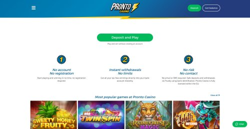 rouletteonlinespelen.nl casino review Pronto casino homepage screenshot