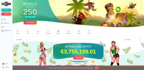 RouletteOnlineSpelen.nl casino review Spinia home screenshot